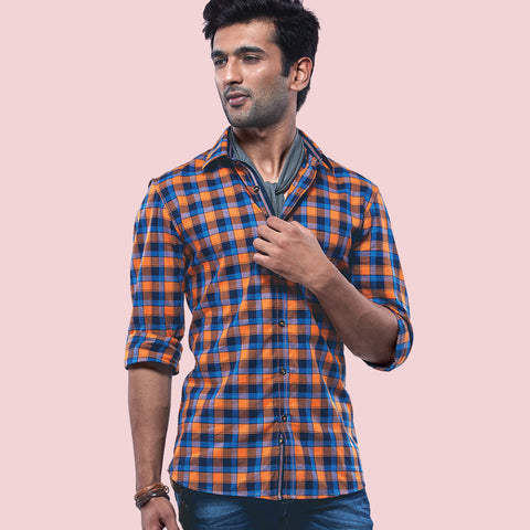 London Bridge Orange And Blue Checkered Casual Shirt