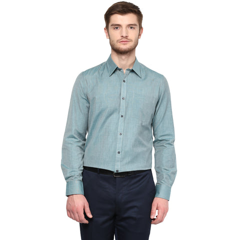 Green Solid Formal Shirt