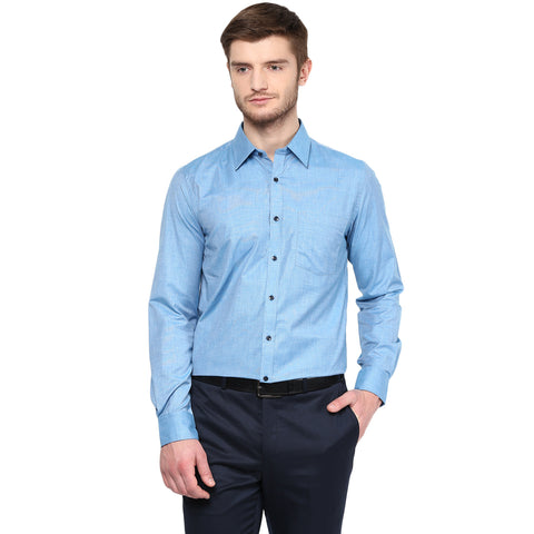 Blue Solid Formal Shirt