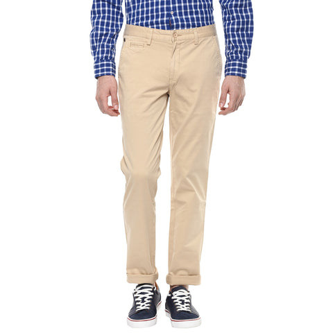 Beige Casual Trouser With Stretch