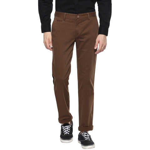 Brown Casual Trouser With Stretch