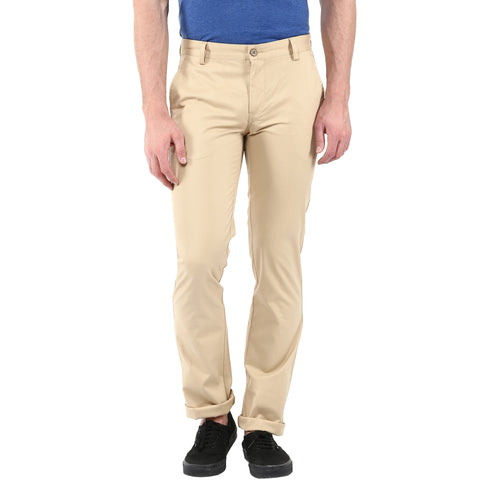 Beige Solid Formal Trouser