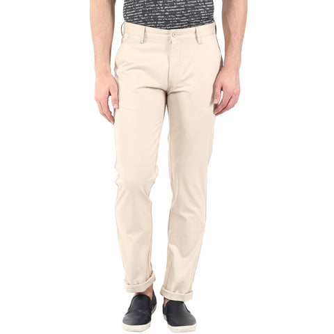 Cream Colored Solid Formal Trouser
