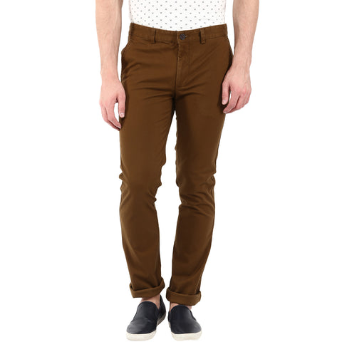 Solid Brown Casual Trouser