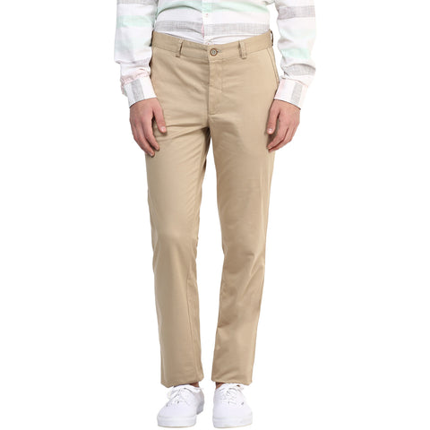 Beige Solid Casual Trouser