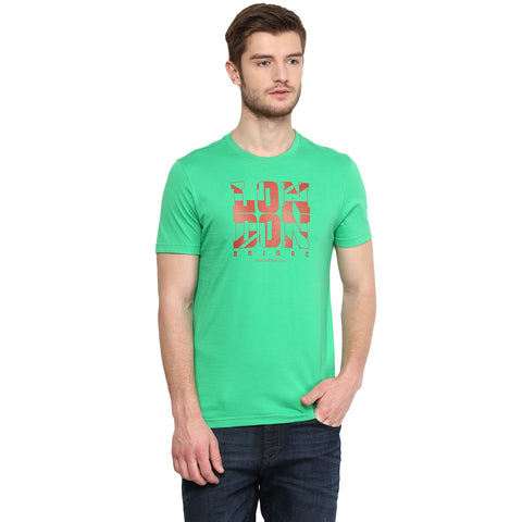 Green Round Neck T-shirt With Graphic Branding