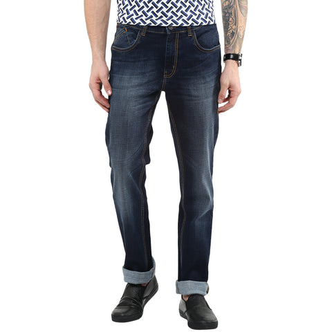 Navy Blue Jeans With Faded Effect