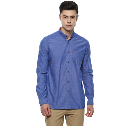 Solid Blue Denim Casual Shirt