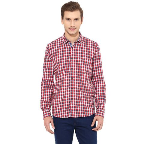 Red And Blue Checkered Casual Shirt