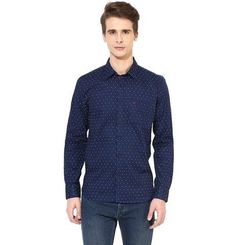 London Bridge Navy Blue Tribal Print Casual Shirt