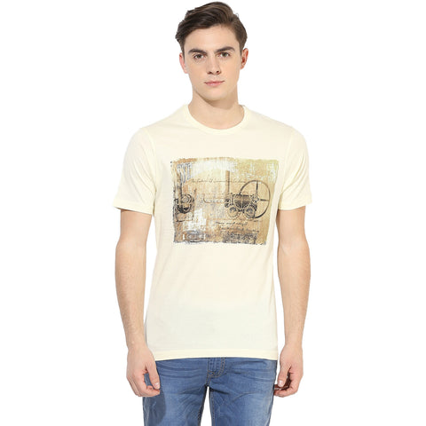 Cream Colored Graphic Print Single Jersey Round Neck T-shirt