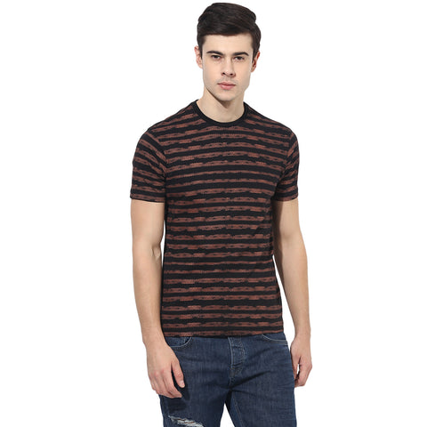 Black Single Jersey Round Neck T-Shirt With Horizontal Print