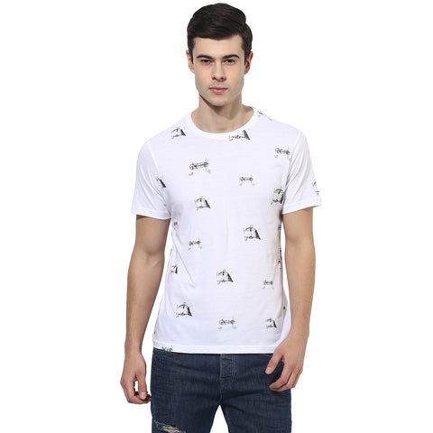 White Quirky Diagram Print Single Jersey Round Neck T-Shirt