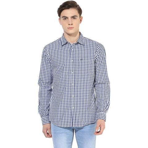 White & Blue Checkered Casual Shirt