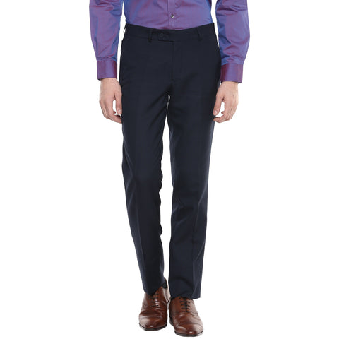 Navy Blue Structured Formal Trouser