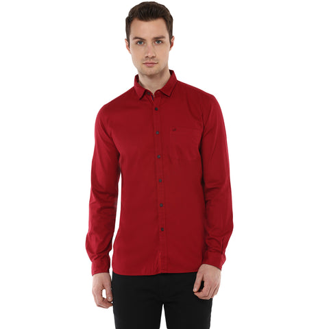 Solid Maroon Casual Shirt