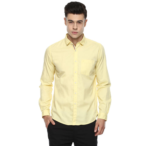 Solid Cream Colored Casual Shirt