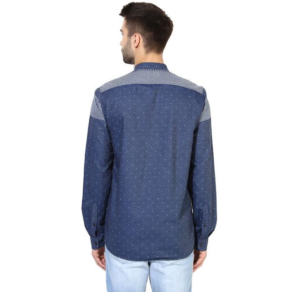 Navy Blue Tribal Print Casual Denim Shirt
