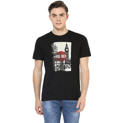 Black Big Ben Graphic Print Single Jersey Round Neck T-shirt