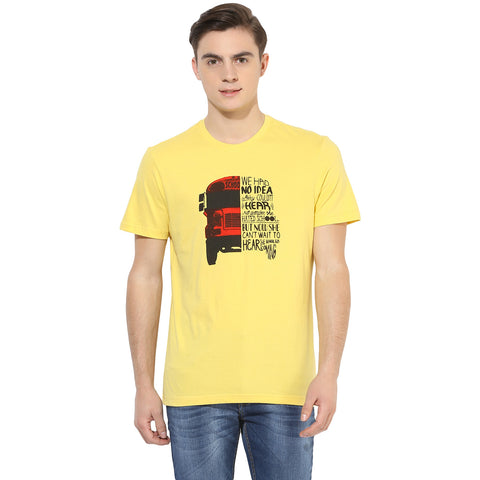 Yellow Graphic Print Single Jersey Round Neck T-shirt