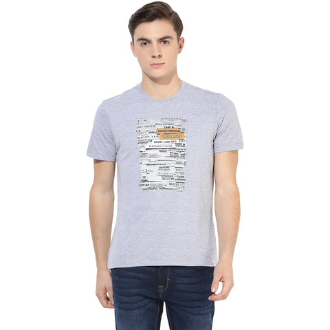 Grey Melange Graphic Print Single Jersey Round Neck T-shirt