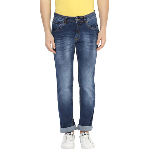 Blue Low Rise Faded Denims With Stretch