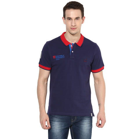 Navy Blue Pique Knit Polo T-shirt With Quirky Branding
