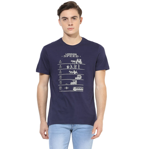 Navy Blue Quirky Graphic Print Single Jersey Round Neck T-shirt