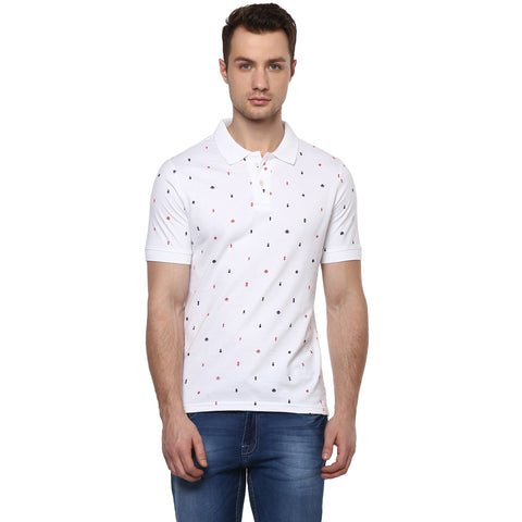 White Quirky Print Single Jersey Polo T-shirt