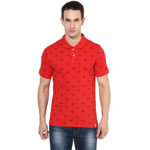 Red Postal Stamp Print Single Jersey Polo T-shirt