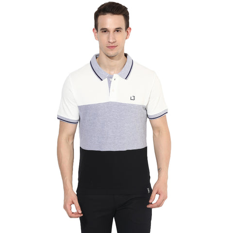 Black & White Color Block Pique Knit Polo T-shirt