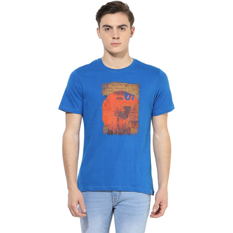 Blue Graphic Print Single Jersey Round Neck T-shirt