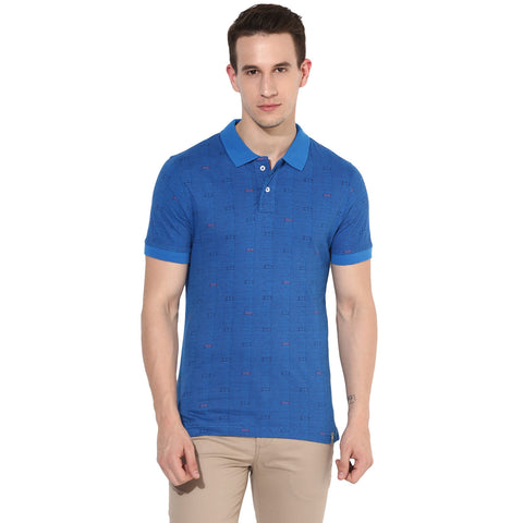 Royal Blue Quirky Print Single Jersey Polo T-shirt