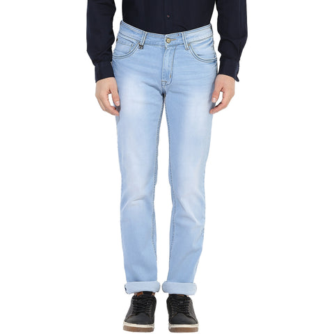 Light Blue Low Rise Knitted Denims With Stretch