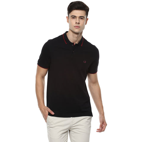 Solid Black Polo Neck Pique Knit T-shirt