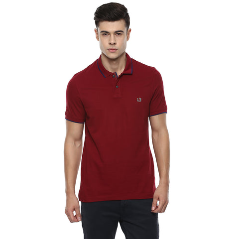 Solid Maroon Polo Neck Pique Knit T-shirt