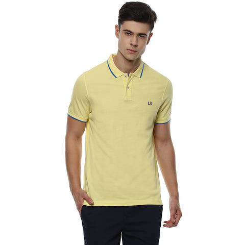 Solid Yellow Polo Neck Pique Knit T-shirt