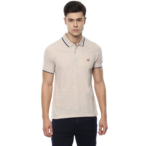Solid Beige Polo Neck Pique Knit T-shirt
