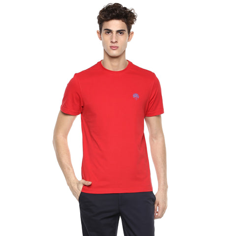 Solid Red Round Neck Single Jersey T-shirt
