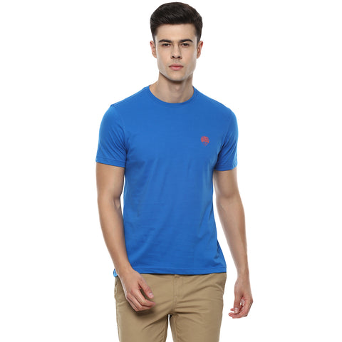 Solid Blue Round Neck Single Jersey T-shirt