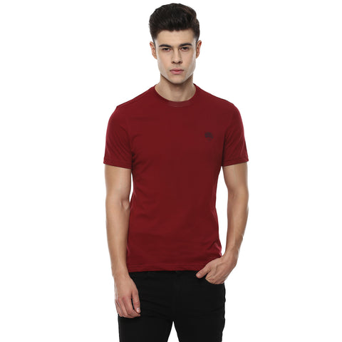 Solid Maroon Round Neck Single Jersey T-shirt