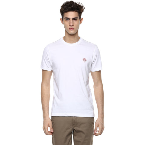 Solid White Round Neck Single Jersey T-shirt
