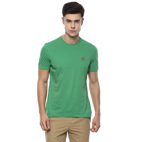Solid Green Round Neck Single Jersey T-shirt