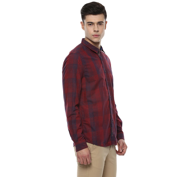 Maroon Casual Shirt With Engineered Checks