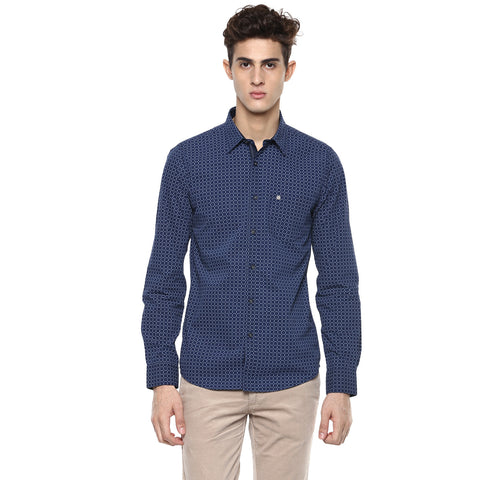 Navy Blue Casual Shirt With Geometric Prints