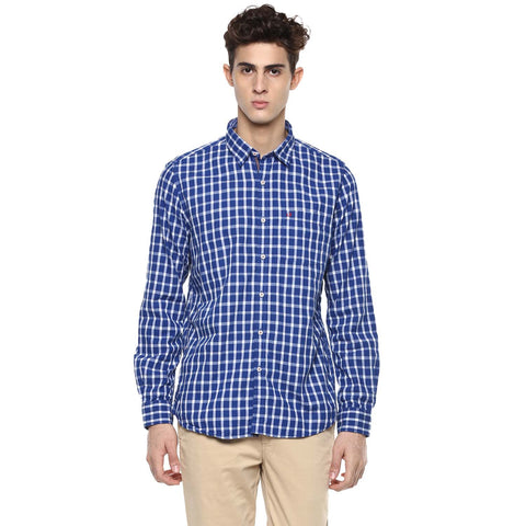 White & Navy Blue Checkered Casual Shirt