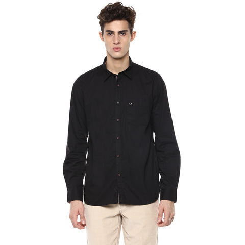London Bridge Men's Solid Black Casual Shirt