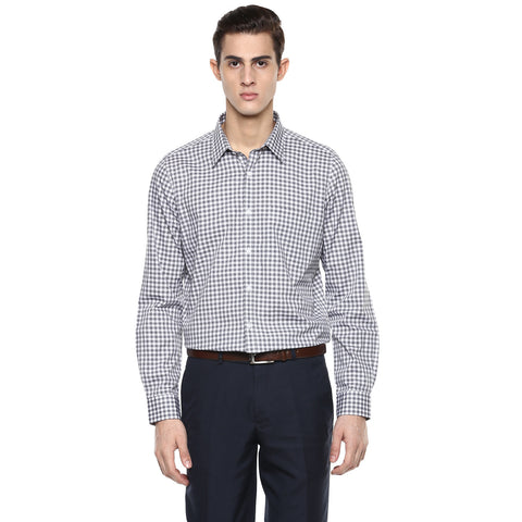 Slim Fit Formal Shirt With White & Black Gingham Checks