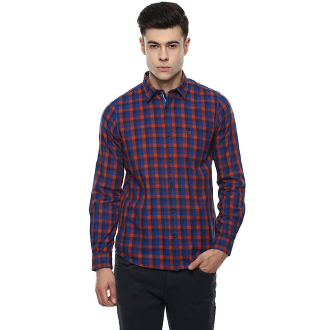 Rust And Navy Blue Checkered Casual Shirt