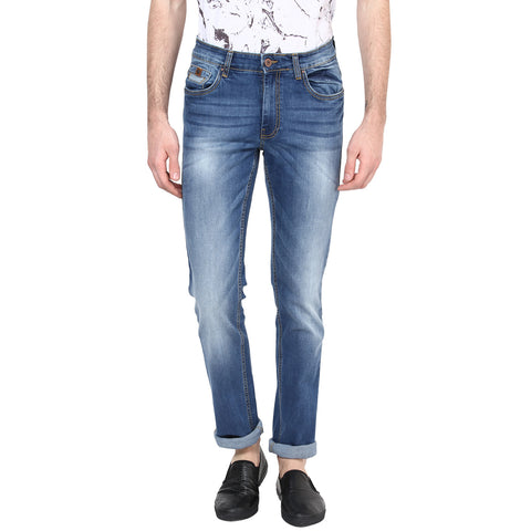 Navy Blue Jeans With Medium Fade Effect